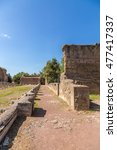 Small photo of VILLA ADRIANA, ITALY - AUG 30, 2015: The ruins of the portico on the Golden Square. UNESCO list