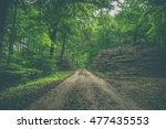 muddy forest trail with stacks... | Shutterstock . vector #477435553