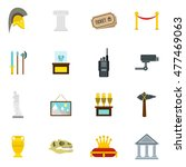 museum icons set in flat style. ... | Shutterstock .eps vector #477469063