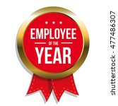 employee of the year label or... | Shutterstock .eps vector #477486307