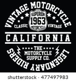 california vintage motorcycle ... | Shutterstock .eps vector #477497983