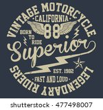 california vintage motorcycle ... | Shutterstock .eps vector #477498007