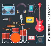 colorful musical instruments.... | Shutterstock . vector #477587047