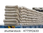 brown cement bags placed on the ... | Shutterstock . vector #477592633