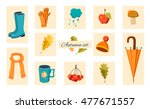 autumn icons and objects set.... | Shutterstock .eps vector #477671557