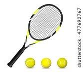 tennis racket and balls. vector ... | Shutterstock .eps vector #477692767