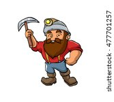cartoon miner with pickaxe... | Shutterstock .eps vector #477701257