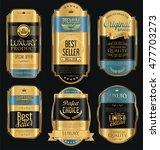 retro vintage golden frames and ... | Shutterstock .eps vector #477703273