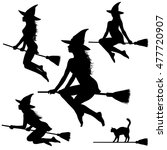 collection of silhouettes of... | Shutterstock .eps vector #477720907