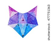 cosmic polygonal fox. hand... | Shutterstock . vector #477751363