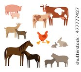Set Of Flat Farm Animals. Farm...