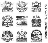set of car racing black... | Shutterstock .eps vector #477793573