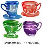 cups watercolor   Shutterstock . vector #477803383