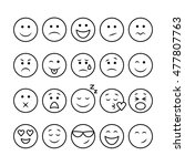 set of thin line emoticons... | Shutterstock . vector #477807763