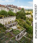 Small photo of BERN/SWITZERLAND - SEPTEMBER 20, 2015: Upscale residential area with terraced gardens near the Bern Cathedral and Aare River.