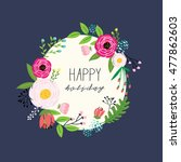 floral hand drawn vector... | Shutterstock .eps vector #477862603