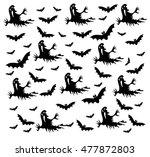 happy halloween background with ... | Shutterstock .eps vector #477872803