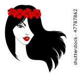 beautiful girl with flowers in... | Shutterstock .eps vector #47787862