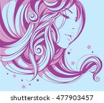 the girl's face is framed by... | Shutterstock .eps vector #477903457