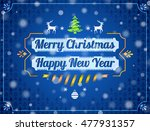 christmas greeting card with... | Shutterstock . vector #477931357