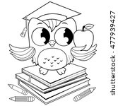 owl on books with graduation...   Shutterstock .eps vector #477939427