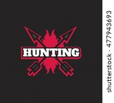 hunting logo in vintage style.... | Shutterstock . vector #477943693