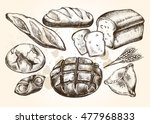 hand drawn set of bread and... | Shutterstock .eps vector #477968833