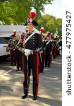 Small photo of MOSCOW, RUSSIA - AUGUST 27, 2016:Parade of participants of International Military Music Festival Spasskaya Tower - 2016 in VDNKh. Free admission. Carabinieri band (Rome), Italy