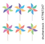 vector colorful and pinwheel set | Shutterstock .eps vector #477987247