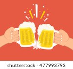 two hands holding beer glasses. ... | Shutterstock .eps vector #477993793
