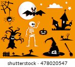 set of funny halloween symbol.... | Shutterstock .eps vector #478020547