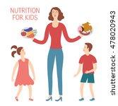 woman and her children choosing ... | Shutterstock .eps vector #478020943