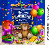 happy birthday greeting card.... | Shutterstock .eps vector #478026247
