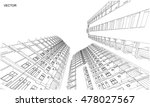 perspective 3d wireframe of... | Shutterstock .eps vector #478027567
