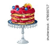 puff cake with fresh fruits and ... | Shutterstock .eps vector #478030717