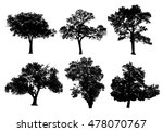 set silhouette tree isolated on ... | Shutterstock . vector #478070767