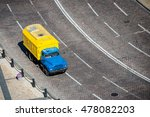 Yellow Truck On The Road View...