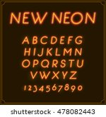 neon italic font type alphabet. ... | Shutterstock .eps vector #478082443