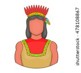 american indian icon in cartoon ... | Shutterstock .eps vector #478108867