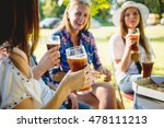 cheerful friends on picnic in... | Shutterstock . vector #478111213