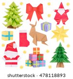christmas origami isolated on... | Shutterstock . vector #478118893