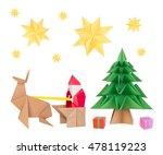 origami santa clause  deer ... | Shutterstock . vector #478119223