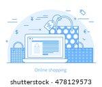 lineart flat online shopping... | Shutterstock .eps vector #478129573