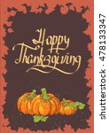 retro thanksgiving day card... | Shutterstock .eps vector #478133347