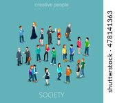 isometric flat people crowd... | Shutterstock .eps vector #478141363