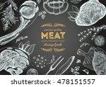 vintage meat frame. vector... | Shutterstock .eps vector #478151557