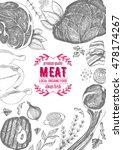 vintage meat frame. vector... | Shutterstock .eps vector #478174267
