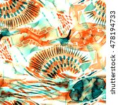watercolor seamless patchwork... | Shutterstock . vector #478194733