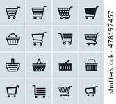 shopping cart icons set  add to ...
