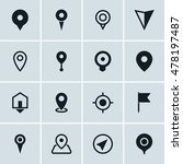 map location icons  set of 16...